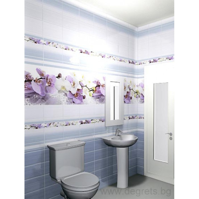 PVC ламперия Орхидея син шарка 3D ефект