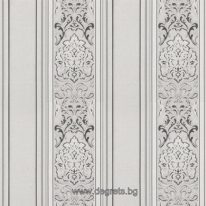 Тапет хартиен Версаче 3D фон сив-злато