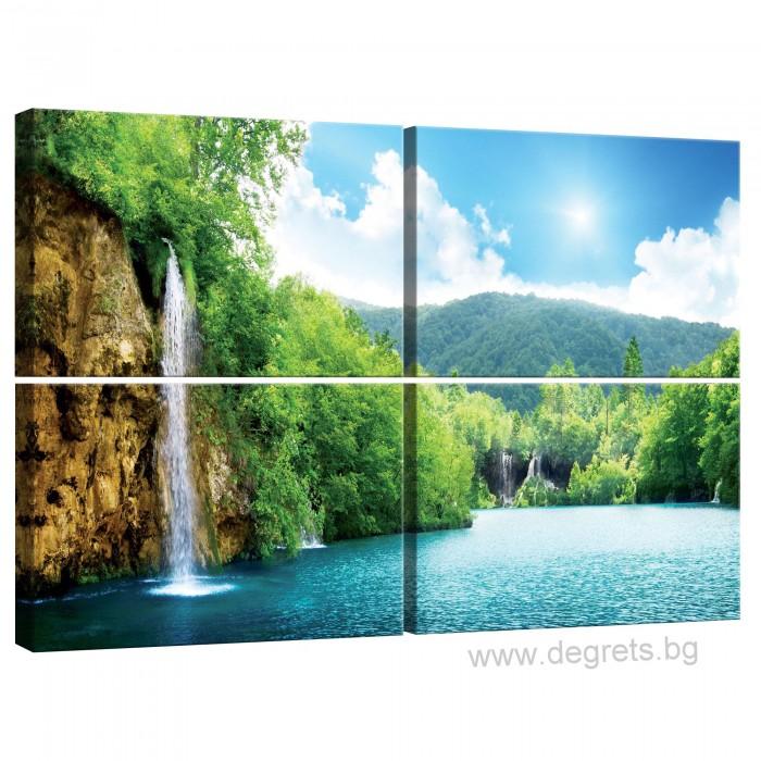 Картина Канава Водопад при езерото Сет 4 части