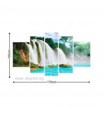 Картина Канава Райски водопад 1 3D Сет 5 части
