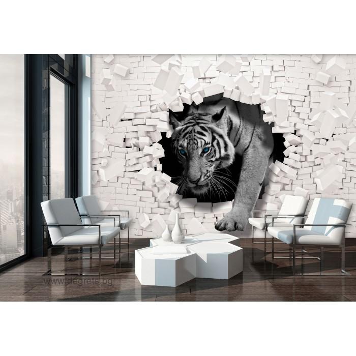 Фототапет Тигър - стена от тухли 3D