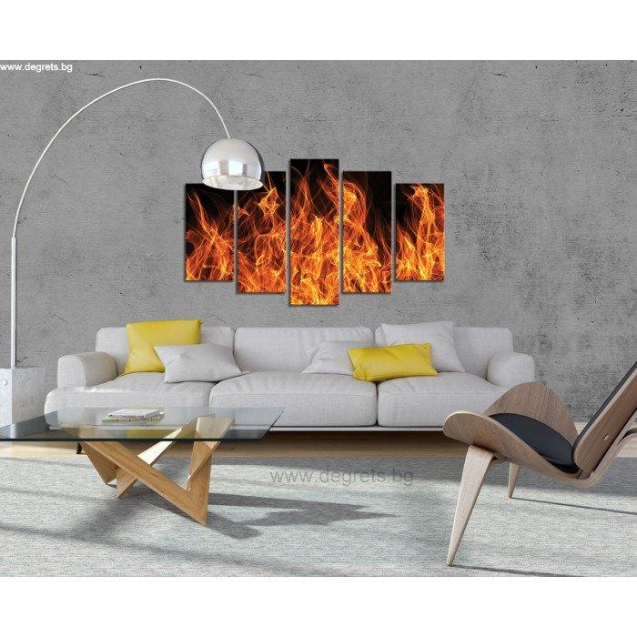 Картина Канава Огън 3D Сет 5 части