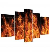 Картина Канава Огън 3D - Сет 5 части