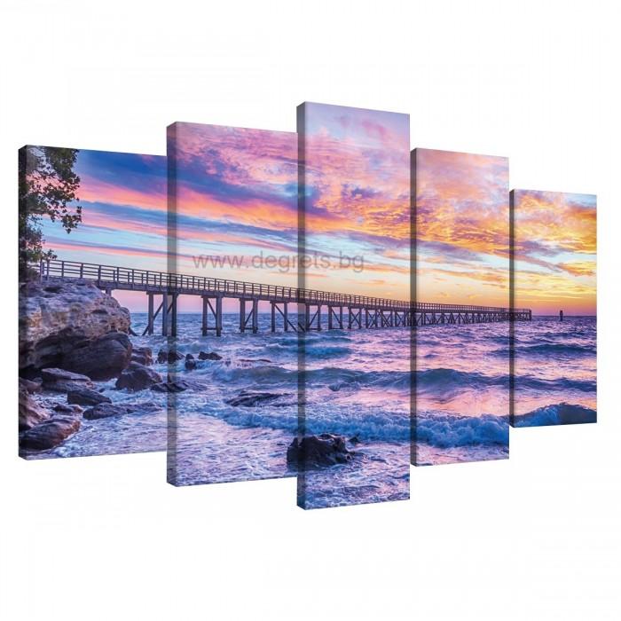 Картина Канава Залез над морето Сет 5 части