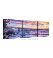 Картина Канава Залез над морето Сет от 3 части