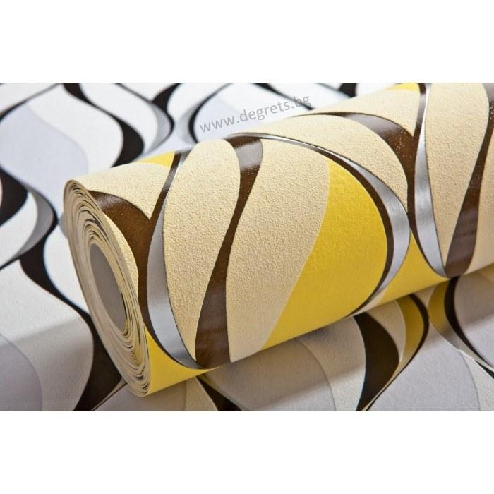 Тапет винил Вълни 1 3D жълт