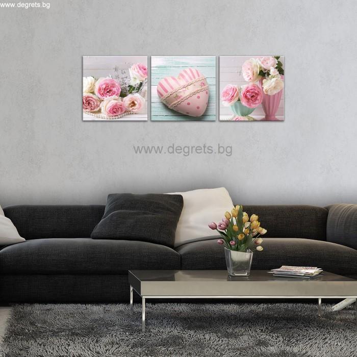 Картина Канава Сърце арт рози Сет 3 части