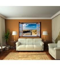 Фототапет флис Път към плажа 3D прозорец