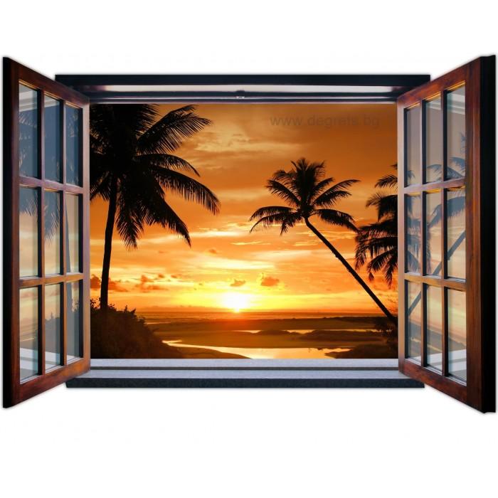 Фототапет флис Залез в Бали 3D прозорец