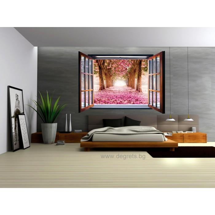 Фототапет флис Цветна градина 3D прозорец