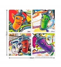 Картина Канава Графити Сет 4 части