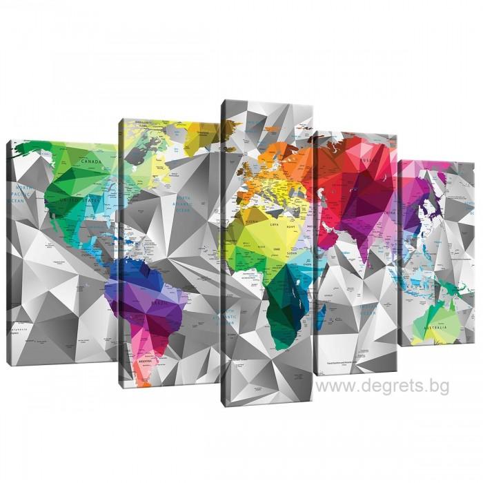 Картина Канава Карта на света 3D Сет 5 части
