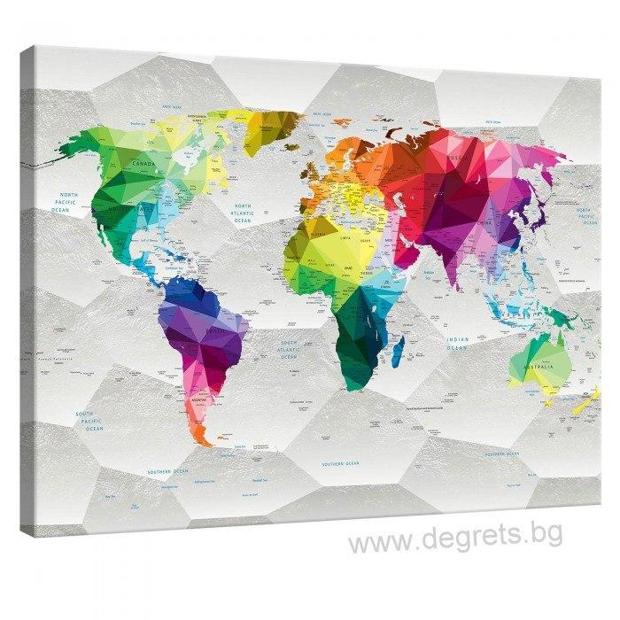 Картина Канава Карта на света 3D