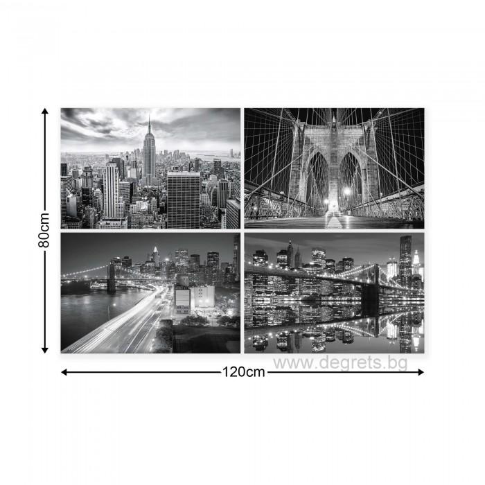 Картина Канава Мегаполис Ню Йорк Сет 4 части