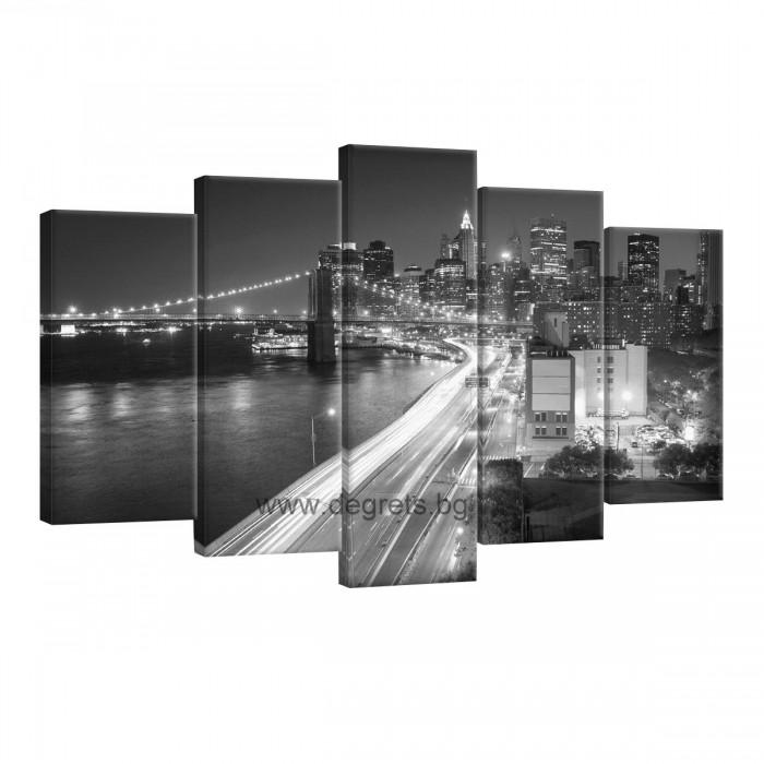 Картина Канава Ню Йорк небостъргачи черно-бял Сет 5 части