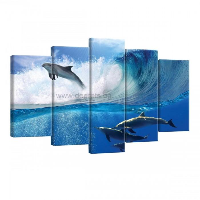 Картина Канава Делфини в морето Сет 5 части