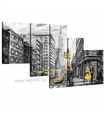 Картина Канава Ню Йорк арт Сет 5 части