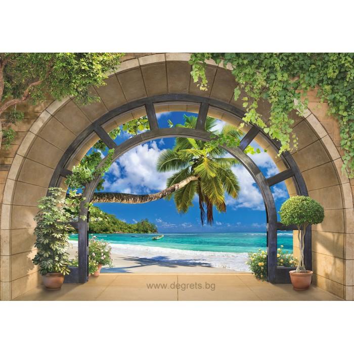 Фототапет Изглед към плажа 3D панорама