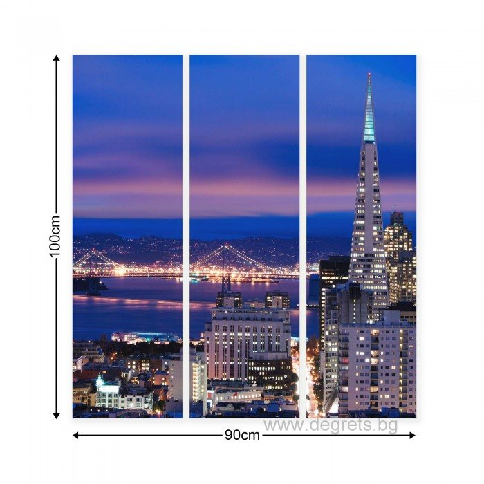 Картина Канава Мегаполис Сан Франциско Сет 3 части