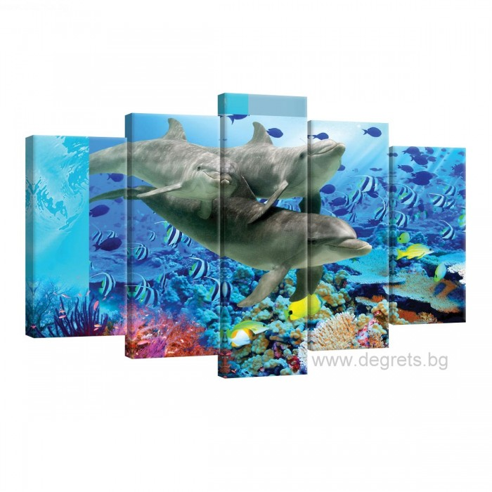 Картина Канава Делфини 1 Сет 5 части