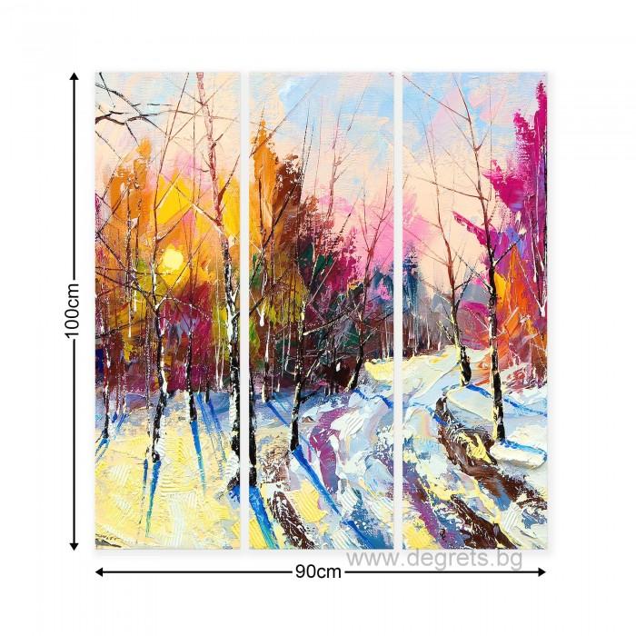 Картина Канава Зима - горски пейзаж Сет 3 части