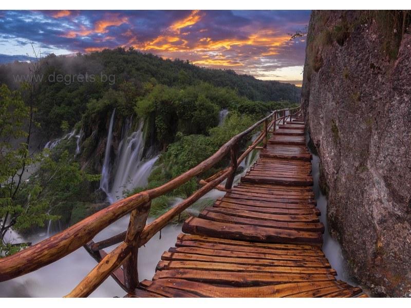 Фототапет Мост край водопада XL
