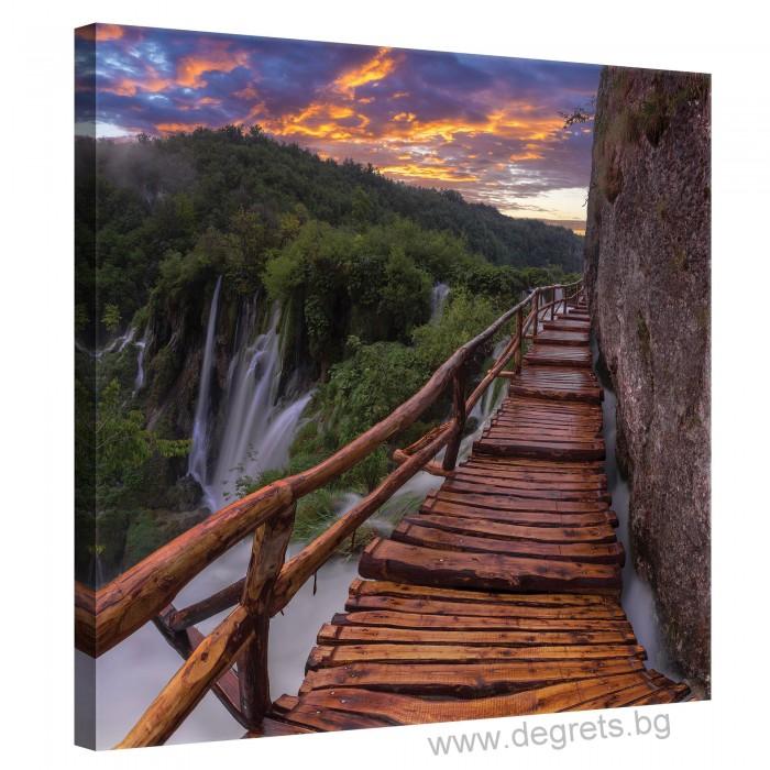 Картина Канава Мост край водопада