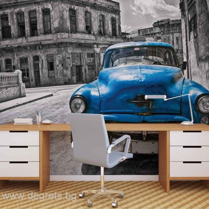 Фототапет Винтидж кола синя