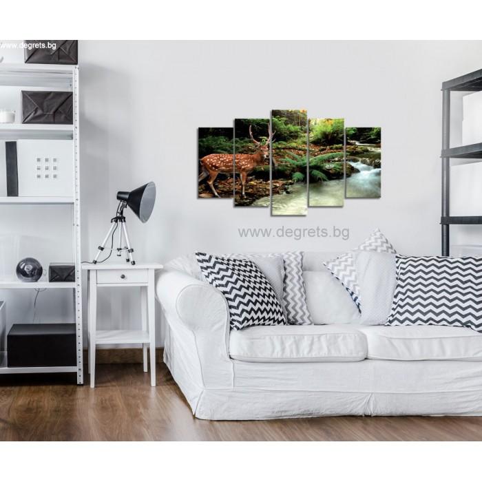 Картина Канава Елен край реката - Сет 5 части