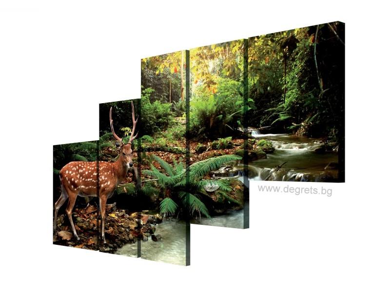 Картина Канава Елен край реката Сет 5 части