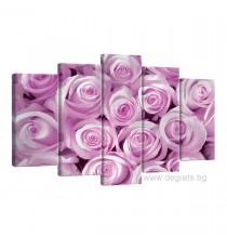 Картина Канава Розови рози 1 Сет 5 части