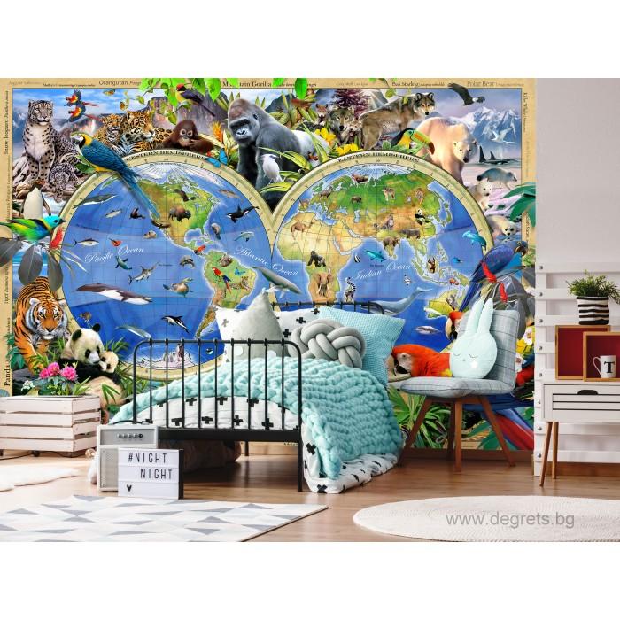 Фототапет Карта на света - животни 1