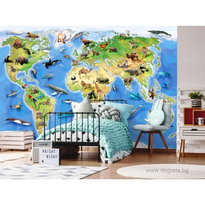 Фототапет Карта на света - животни 2