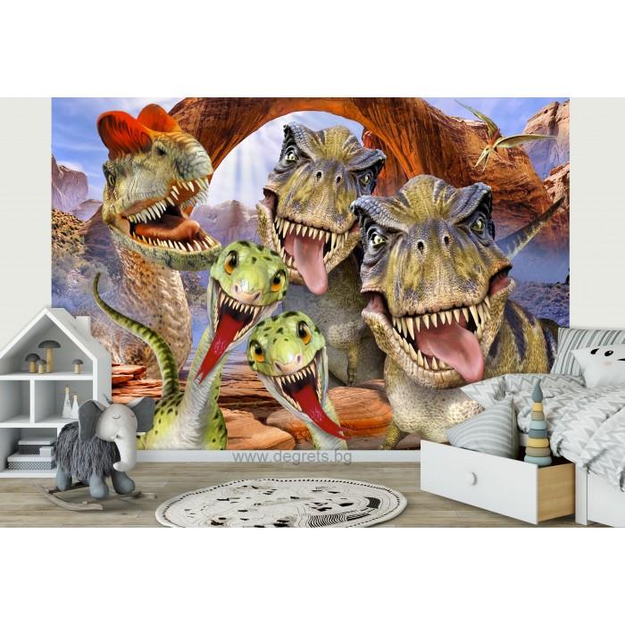 Фототапет Динозаври - селфи 1 3D