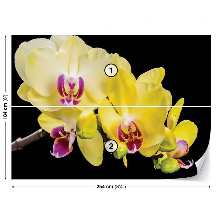 Фототапет Жълта орхидея 3D