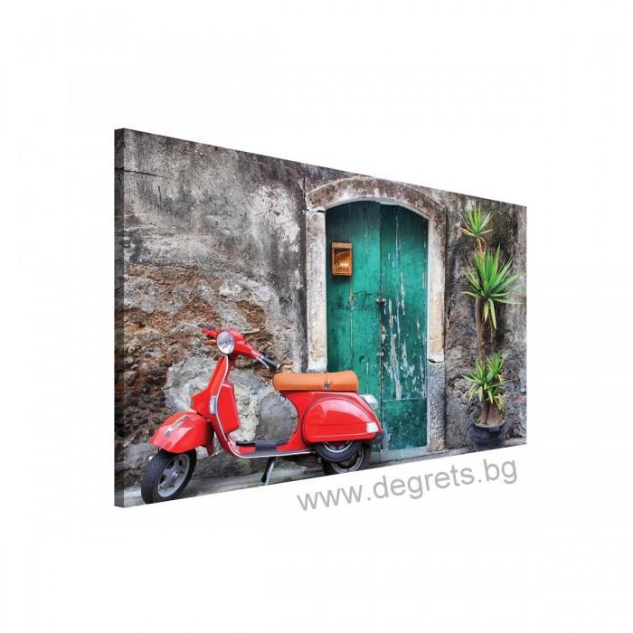 Картина Канава Червен скутер