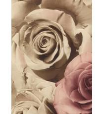 Тапет PVC Рози тъмно бежов