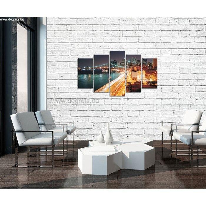 Картина Канава Ню Йорк небостъргачи Сет 5 части