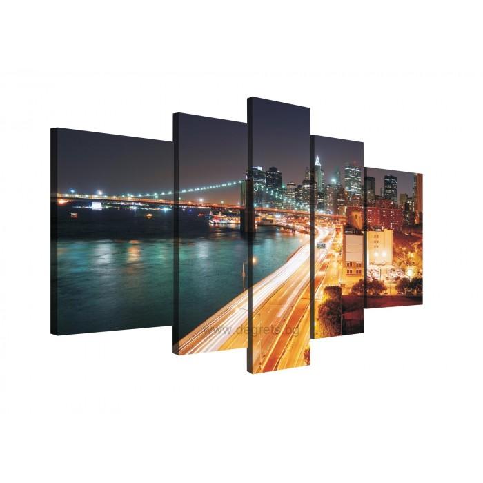 Картина Канава Ню Йорк - небостъргачи Сет 5 части