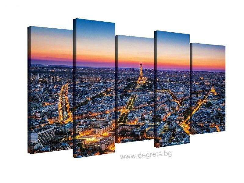 Картина Канава Залез над Париж Сет 5 части