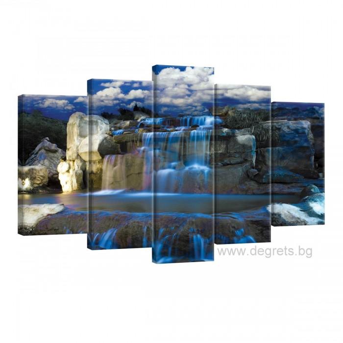Картина Канава Водопад каскада Сет 5 части
