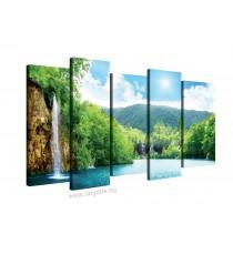 Картина Канава Водопад при езерото - Сет 5 части