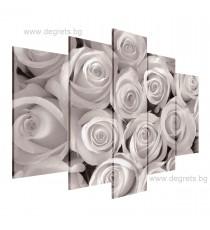 Картина Канава Букет от бели рози Сет 5 части