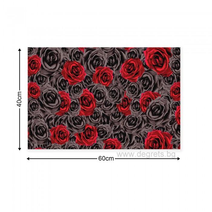 Картина Канава Рози червено - черни 3D