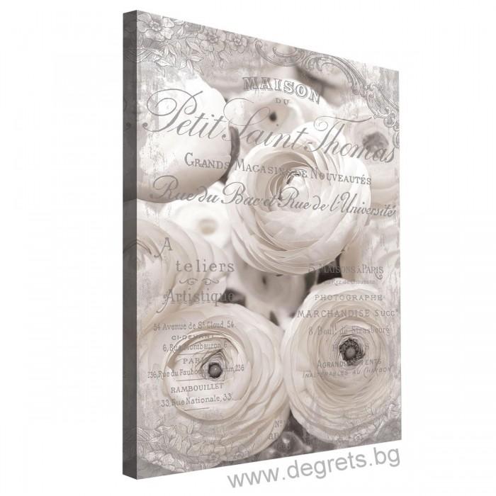Картина Канава Бели рози - винтидж 3D L