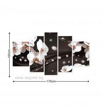 Картина Канава Абстракция Орхидеи 2 3D Сет 5 части