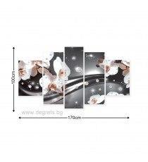 Картина Канава Абстракция Орхидеи 3 3D Сет 5 части