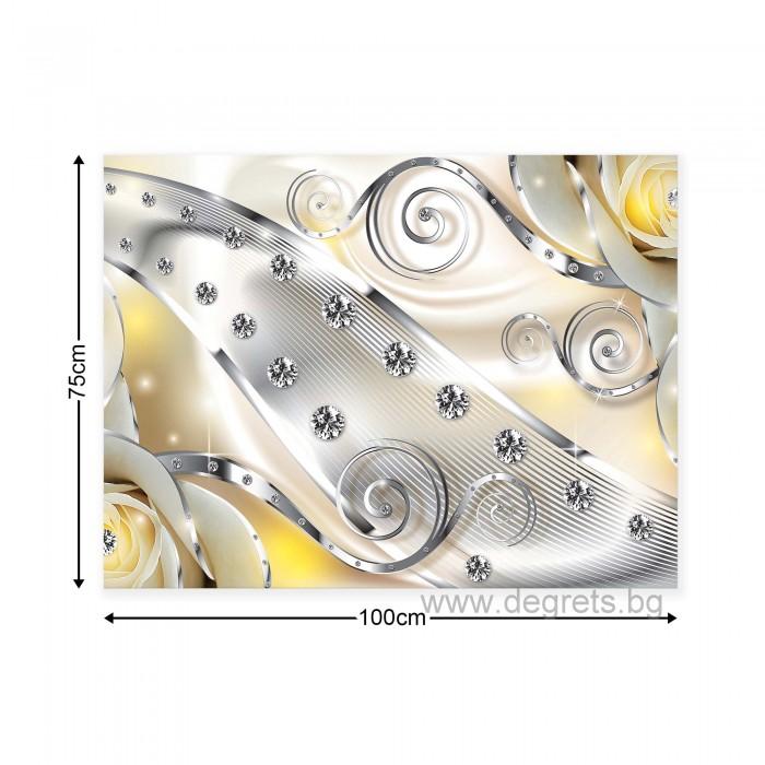 Картина Канава Жълт флорален диамант 3D L