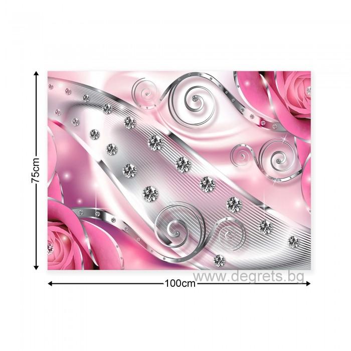 Картина Канава Розов флорален диамант 3D L