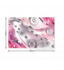 Картина Канава Розов флорален диамант 3D S